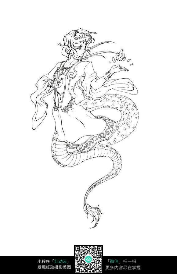 南海鲛人手绘线描