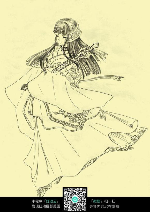 古典卡通美女简笔画图片