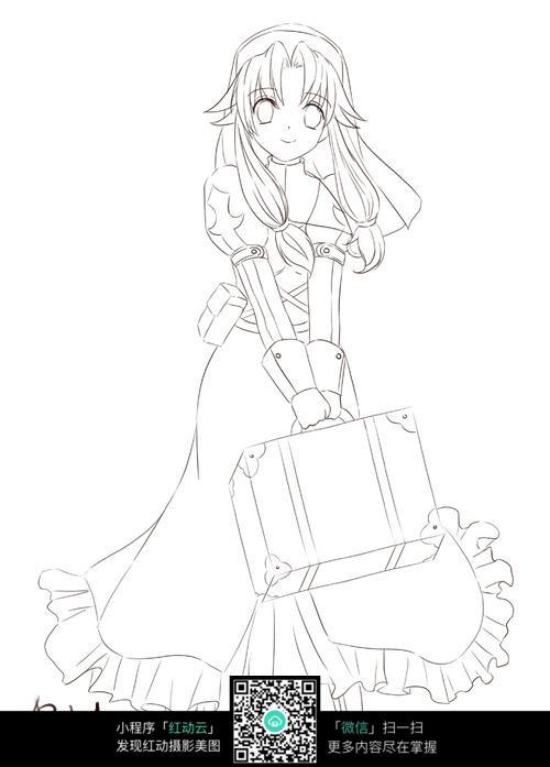 拿着行李箱的女孩