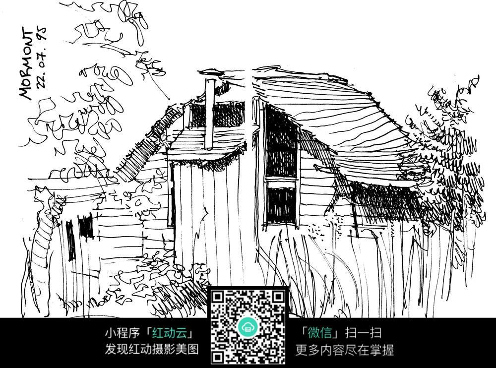 农村院落房子手绘图片