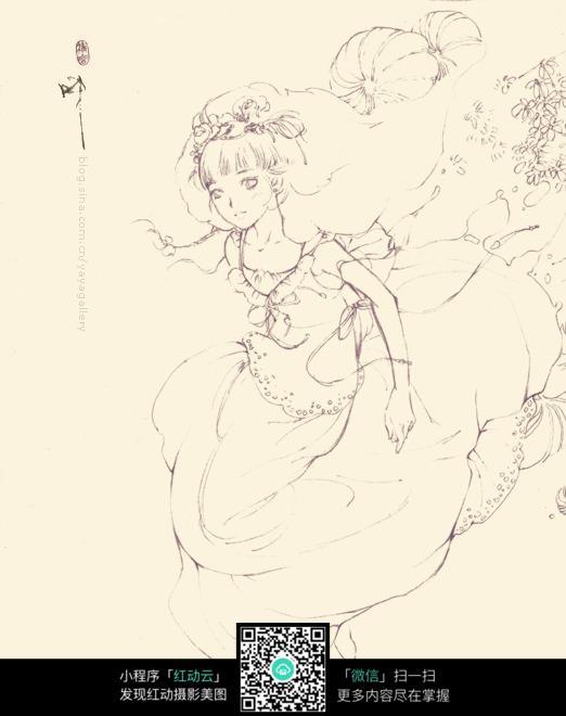 欧美风格小姑娘手绘线描