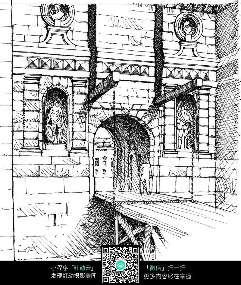 欧美建筑门洞手绘