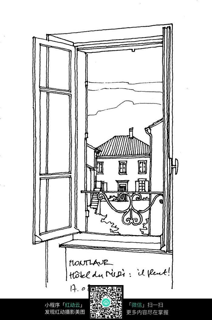 欧式窗户建筑风格手绘
