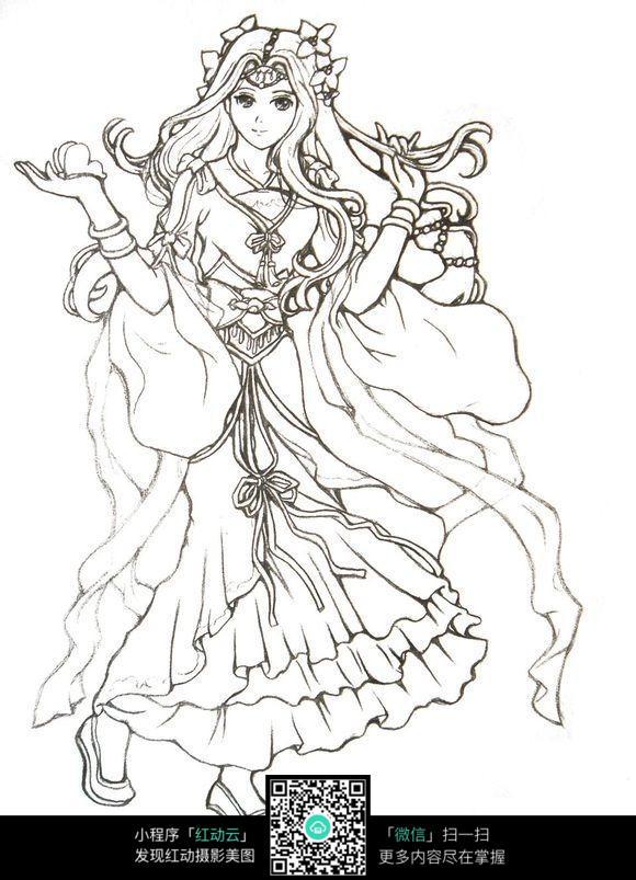 免费素材 图片素材 漫画插画 人物卡通 清纯可爱的古代女子