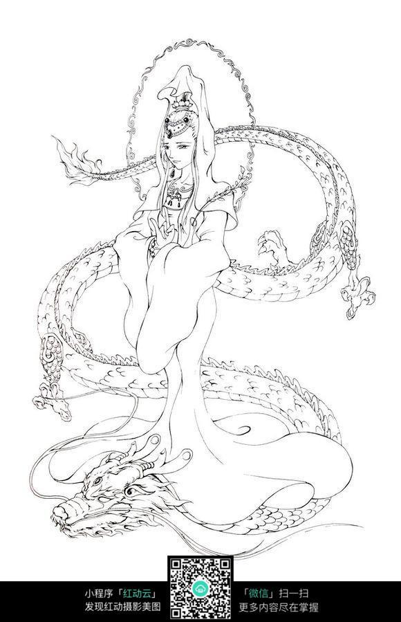 骑着龙的仙女手绘线描