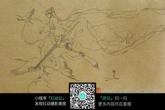 手绘古装人物女侠线稿图片免费下载 编号3704730 红动网