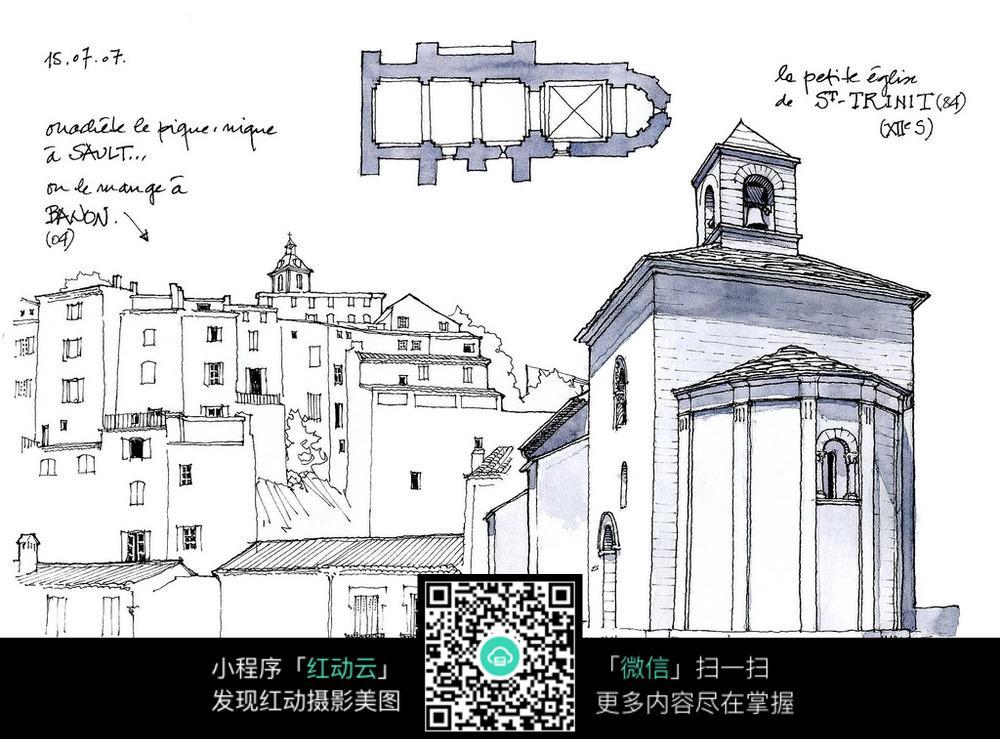 手绘建筑房屋草图