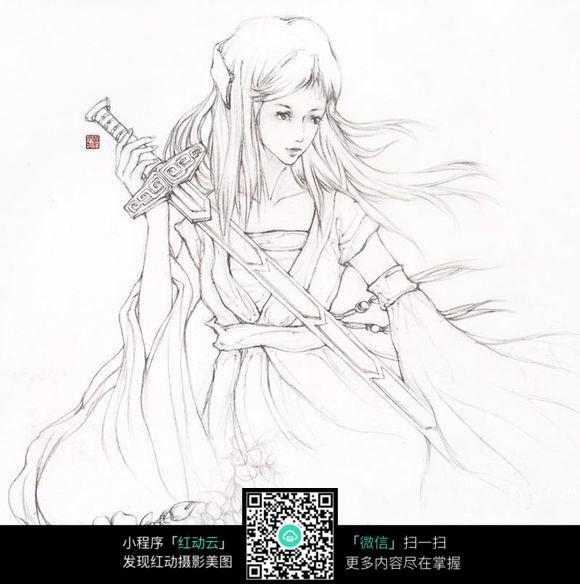 手拿剑的美女手绘线描