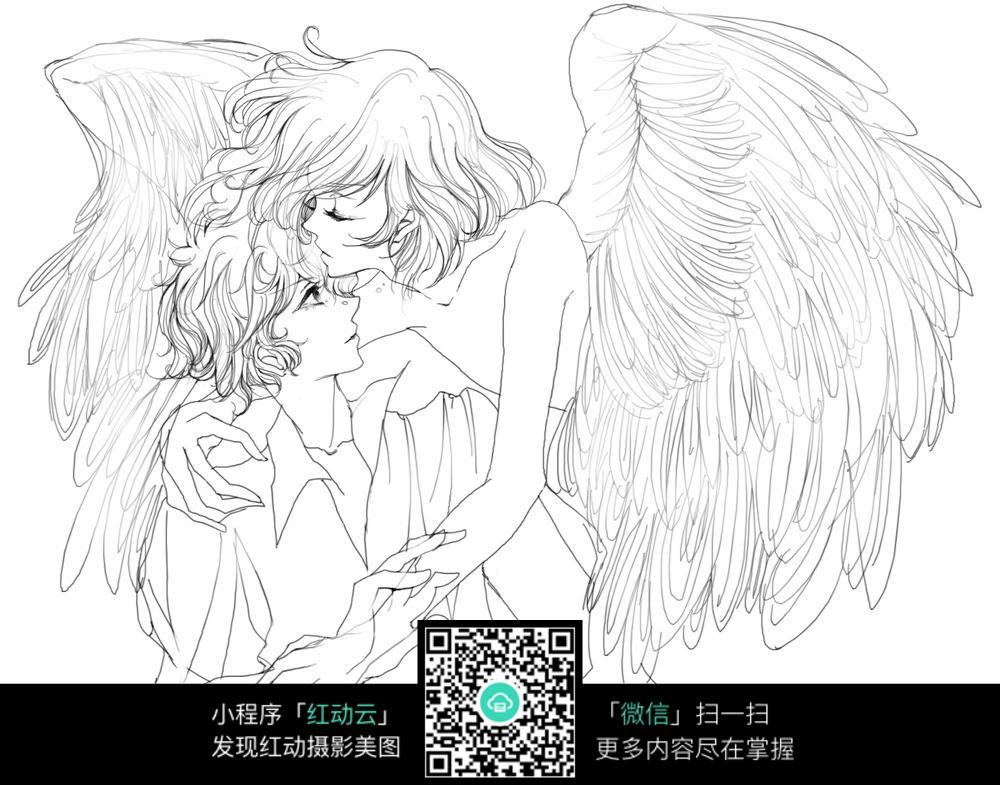 天使女孩亲吻男孩图片 人物卡通图片