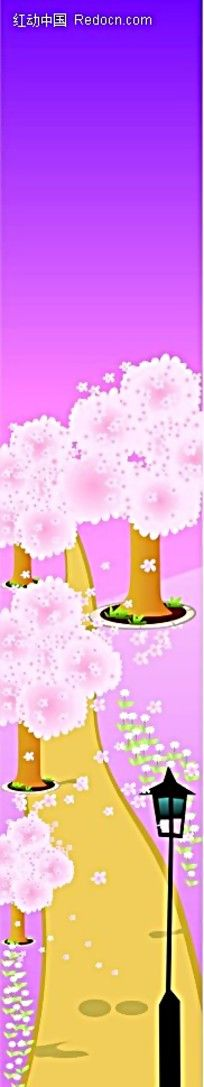 温馨粉色树木小路展架背景素材