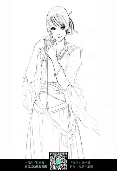 南海鲛人古典美女手绘_人物卡通图片_红动手机版