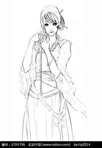 古典美女手绘线稿图片 古典美女手绘线稿设计素材 红动网
