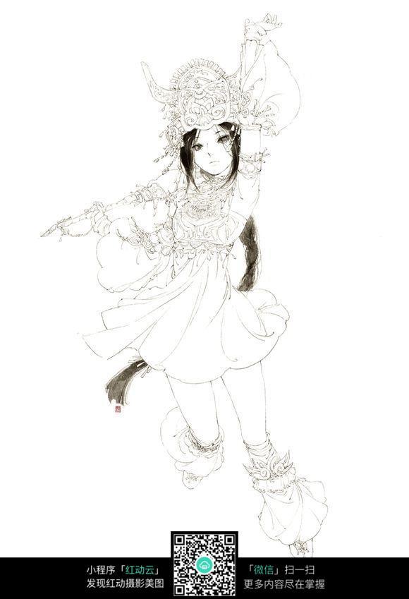 游戏中少女线描图片_人物卡通图片
