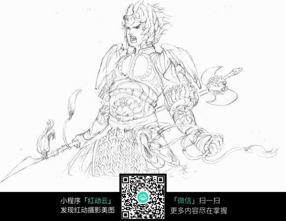 免费素材 图片素材 漫画插画 人物卡通 游戏中凶狠的将军