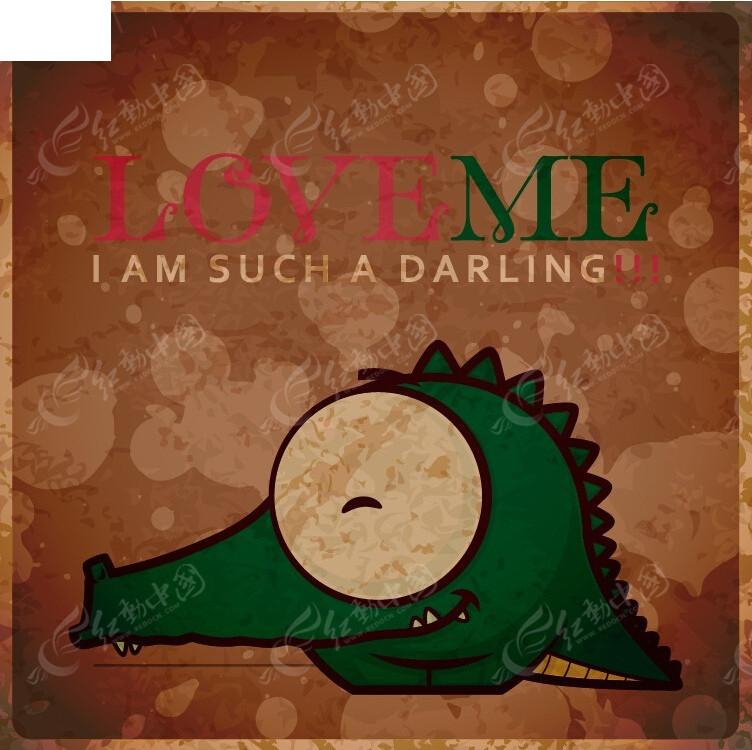 鳄鱼手绘图形背景画