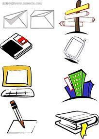 办公生活手绘图形图标