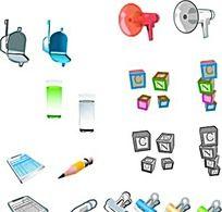 办公字母方块办公用品手绘立体图形