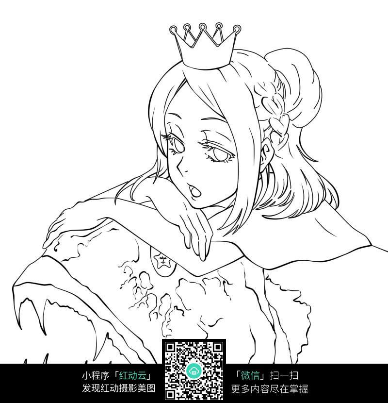 戴皇冠的女孩卡通手绘线稿