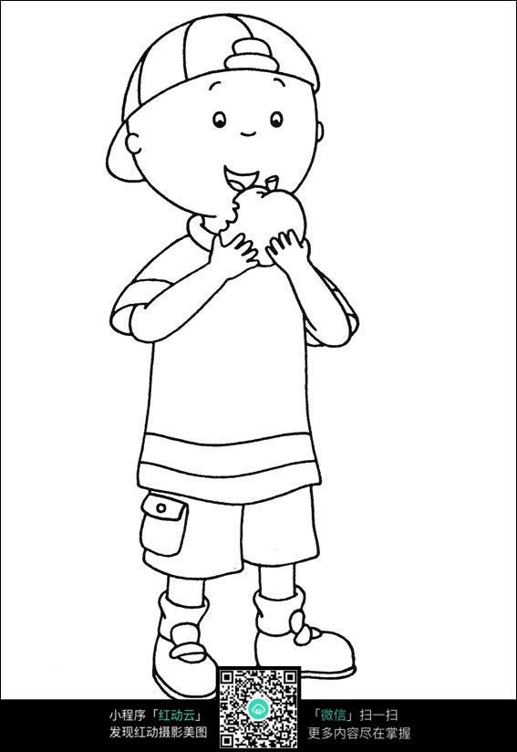 吃苹果的女孩卡通手绘线稿_人物卡通图片_红动手机版