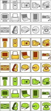 手绘电子产品图片背景ppt