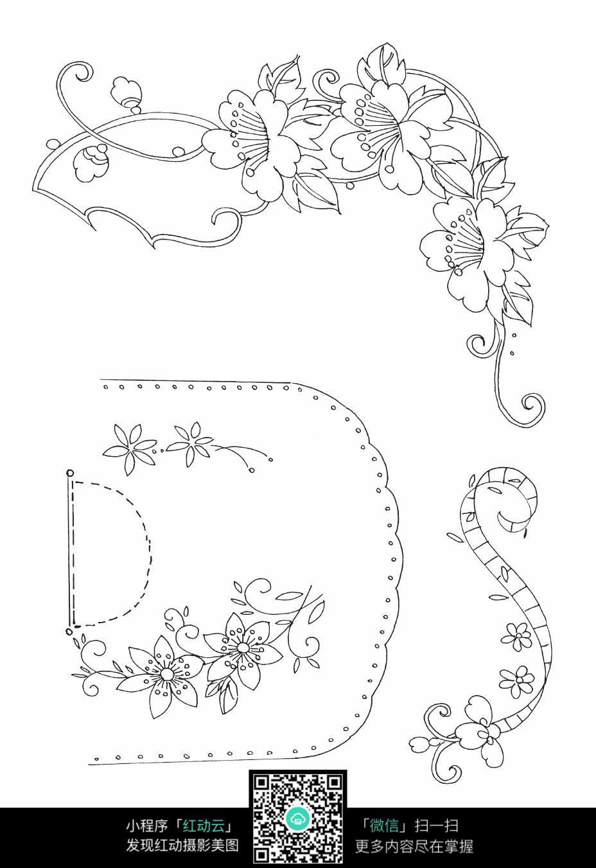 花朵和藤蔓刺绣图案素材