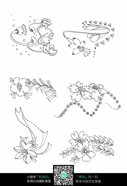 花朵手绘刺绣图案素材