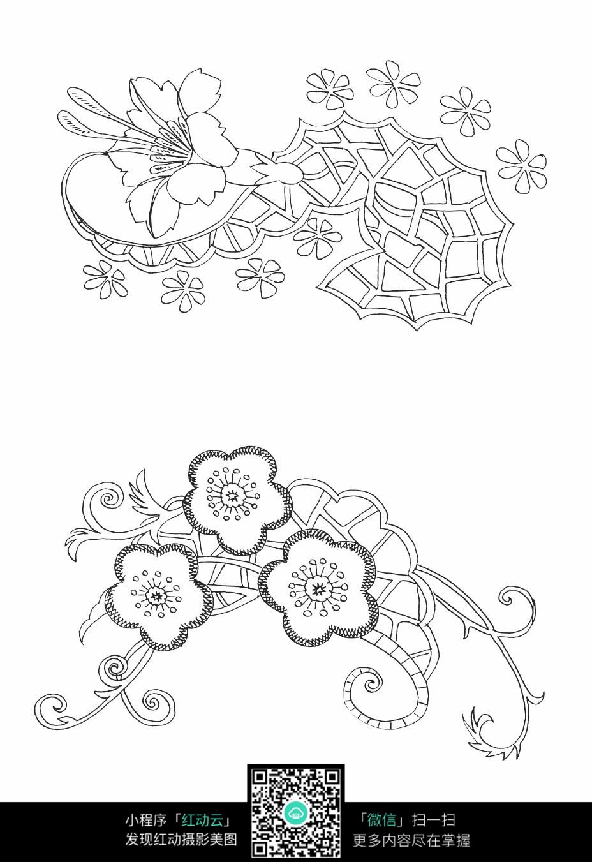 精美花朵刺绣图案素材