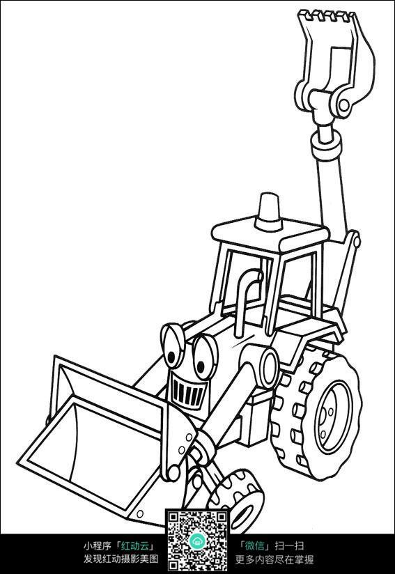 卡通铲车挖掘机手绘线描