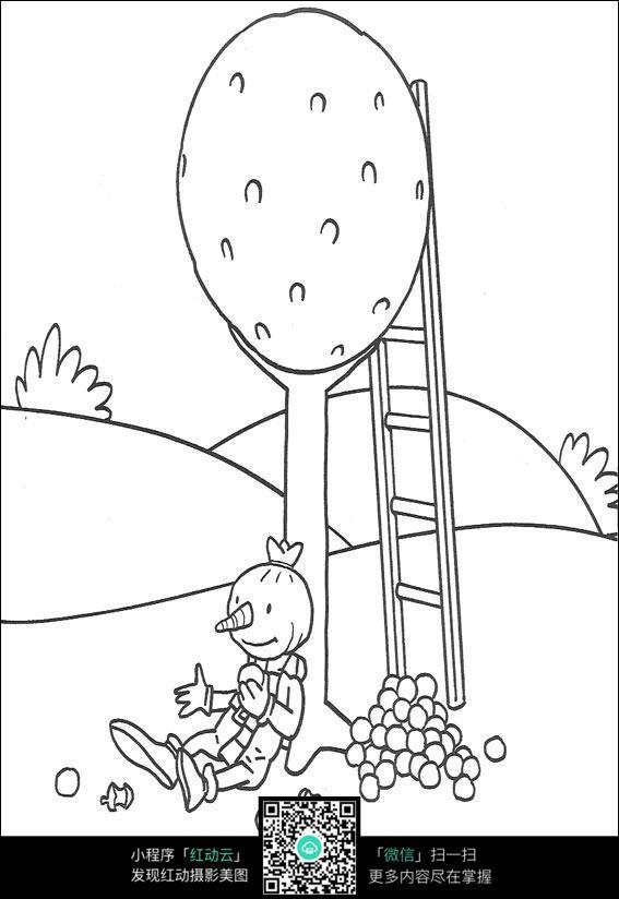 免费素材 图片素材 漫画插画 人物卡通 卡通动画片黑白线描
