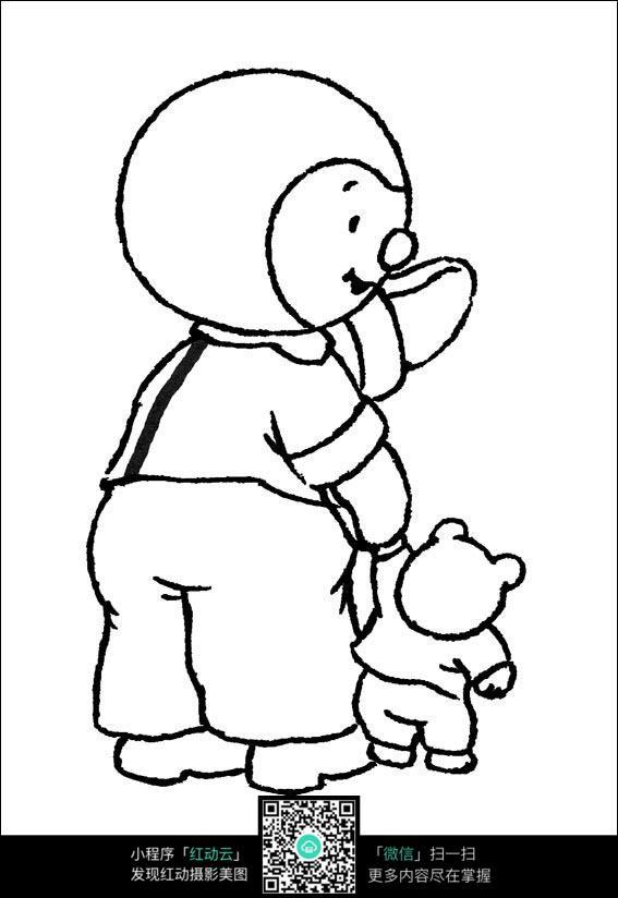 卡通儿童带着熊宠物线稿