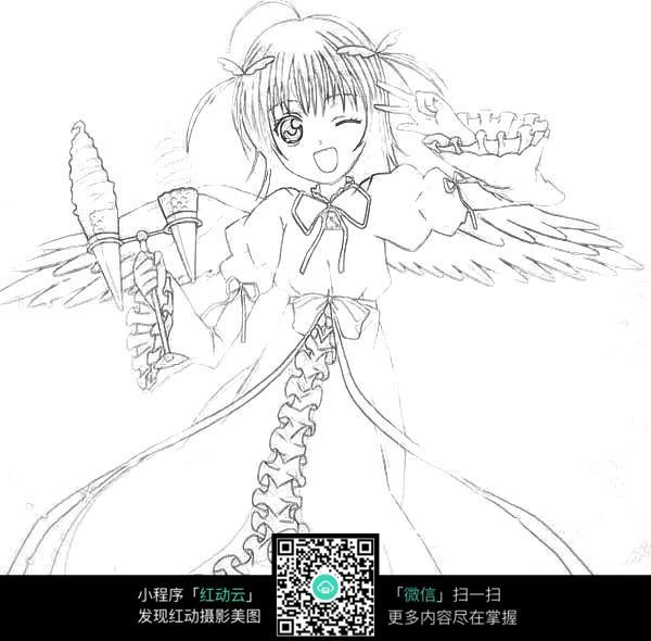 卡通少女手绘线稿