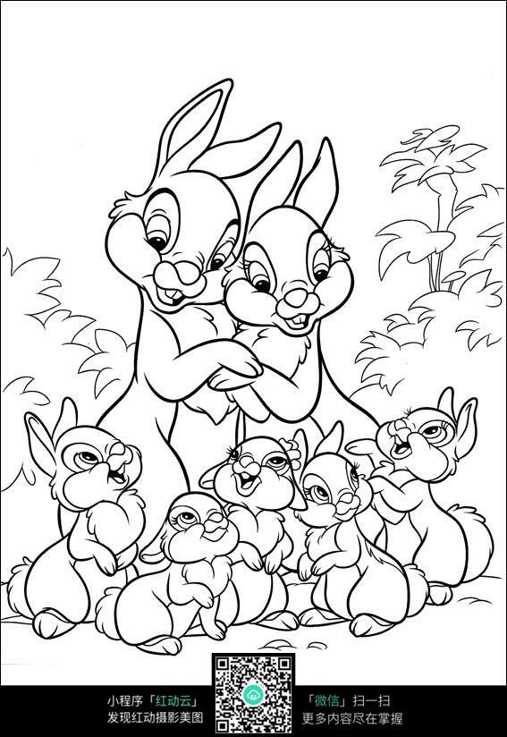 卡通兔子动漫线描图片