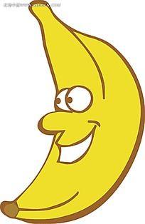 卡通香蕉小人手绘立体图形