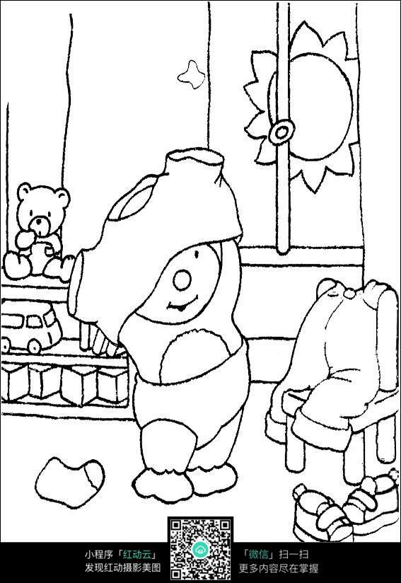 卡通小孩子自己脱衣服