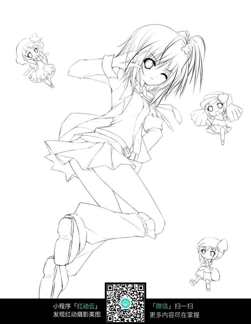 免费素材 图片素材 漫画插画 人物卡通 可爱女孩卡通手绘线稿  请您