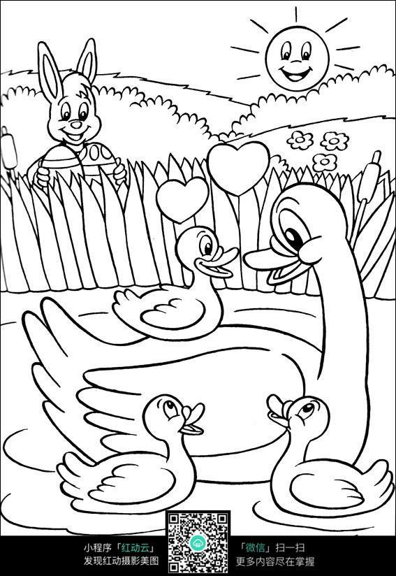 可爱小鸭子游泳素材