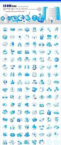 蓝色金融娱乐工作生活立体图形图标