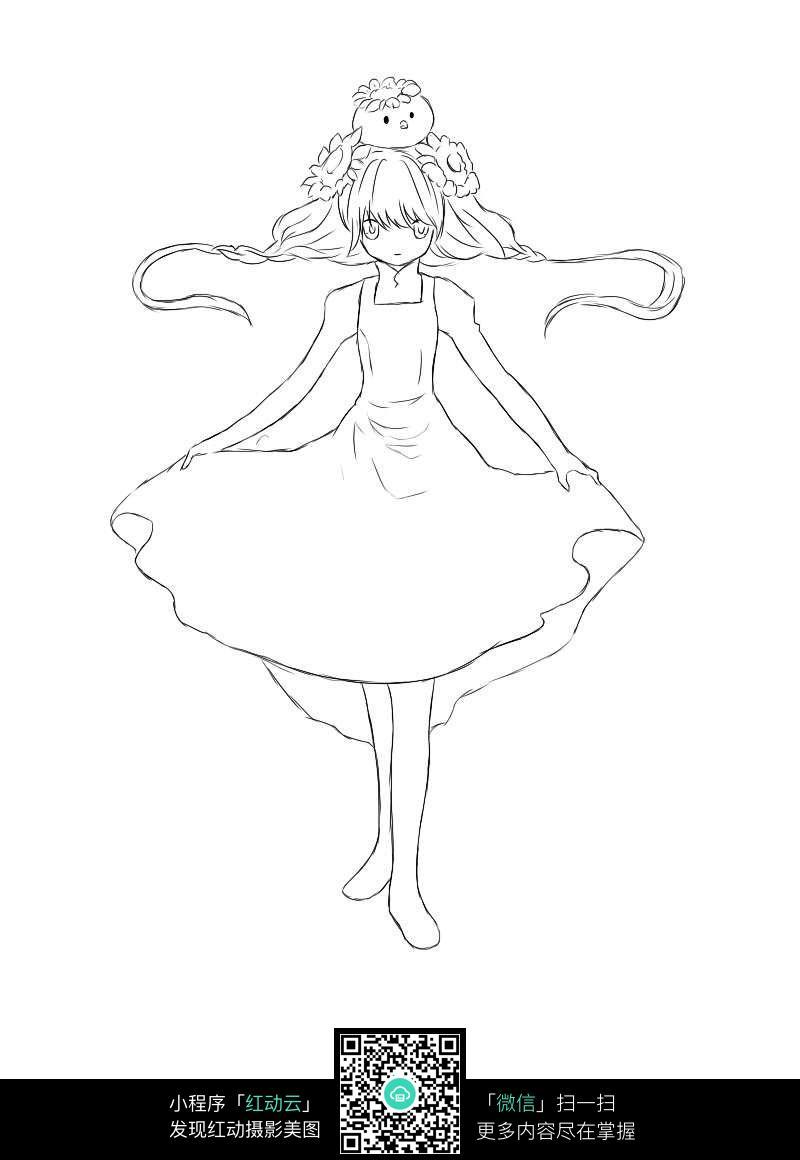 拉着裙子的女孩手绘线稿