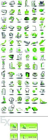 绿色办公医药生活立体图形图标