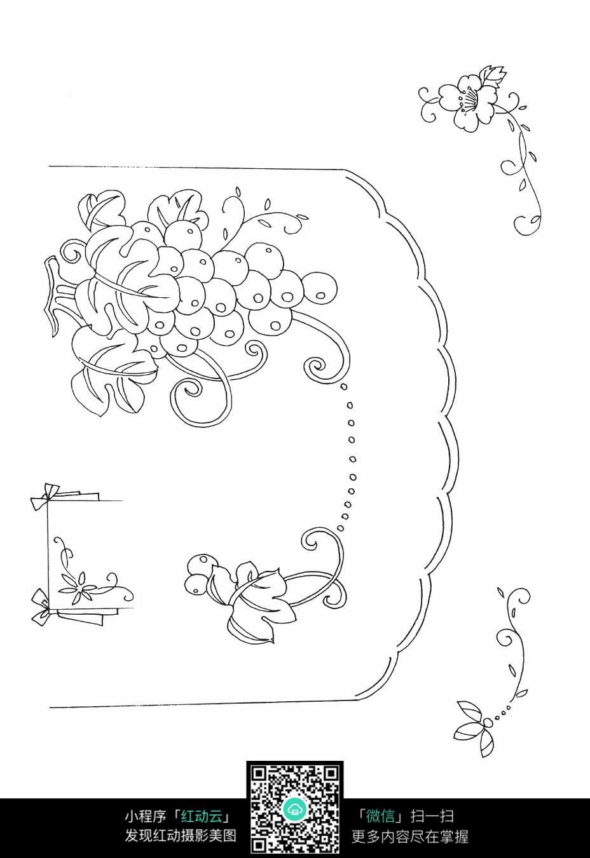 葡萄和叶子刺绣图案素材