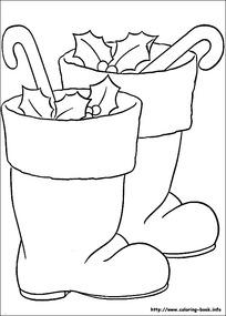 圣诞靴子礼物线描图片-漫画插画|绘画图片下载图片