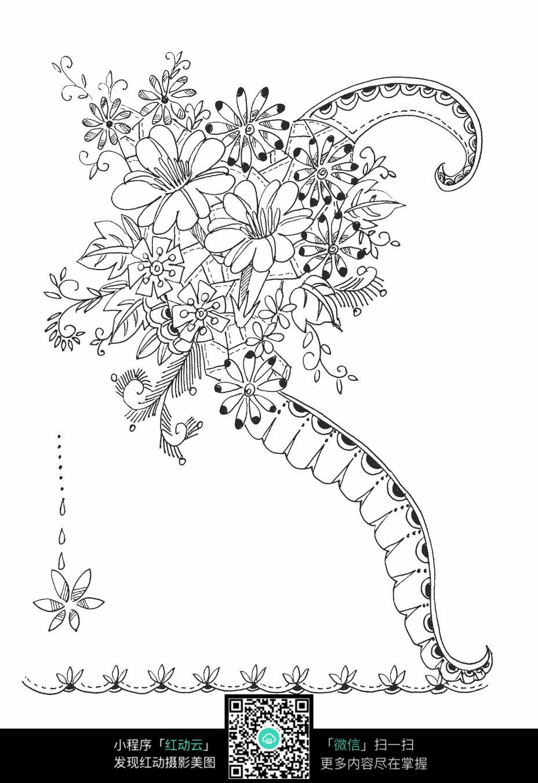手绘花朵刺绣图案素材