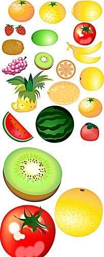 水果手绘立体图形图标