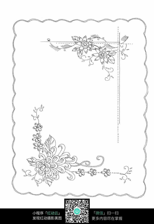 藤蔓和花朵刺绣图案素材
