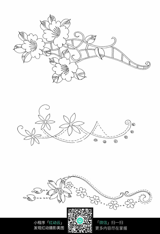 藤蔓花朵刺绣图案素材