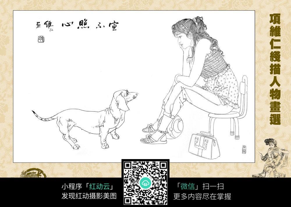古代女性白描图 古代人物 人物图稿 人物图谱 白描 手绘 线描 黑白稿