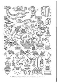 西藏藏传佛教各种用品线稿