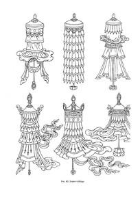 西藏藏传佛教器具线稿