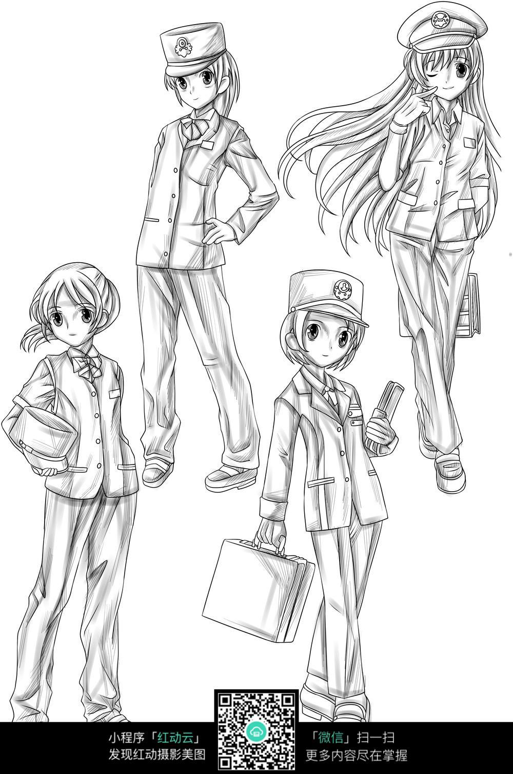 制服女孩卡通手绘线稿_人物卡通图片