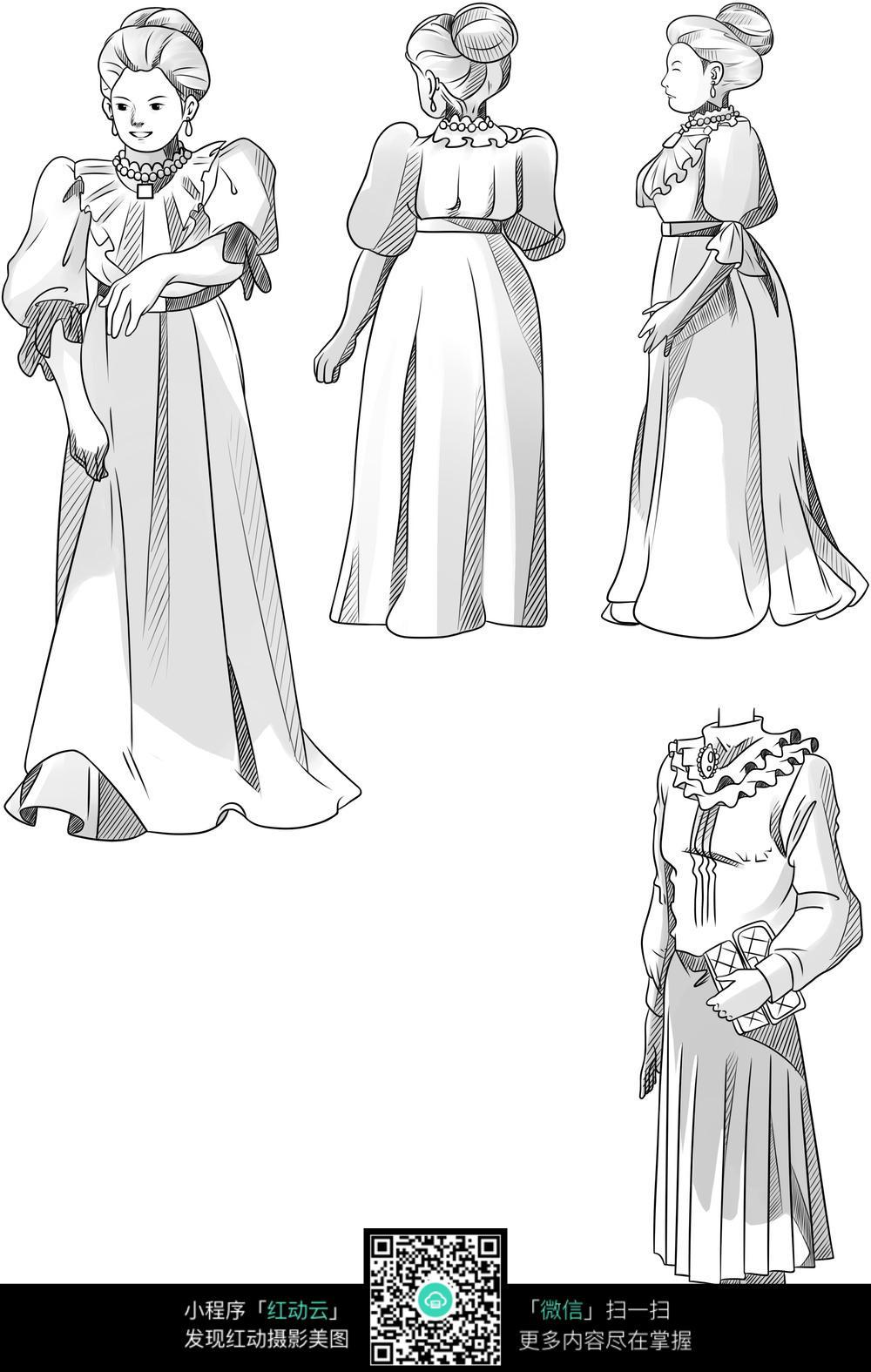 中年妇女卡通手绘线稿图片